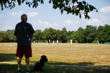 A man and his dog watch children play a game of cricket in Sonning