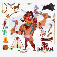Indian or native american with traditional costume, weapon, tools and other. character design - vector\