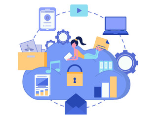 Cloud storage. Data security concept. Cloud computing. Computer device. Vector illustration