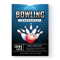 Bowling tournament poster or flyer design with time and venue details.