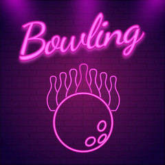 Pink neon text Bowling on wall textured background with pins and ball illustration of for tournament concept.