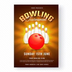 Shiny poster or flyer design with time and venue details on abstract white background for Bowling tournament concept.