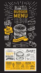 Burger restaurant menu. Vector food flyer for bar and cafe. Design template on blackboard with vintage hand-drawn illustrations.