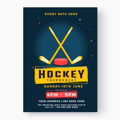 Blue Ice Hockey Tournament template or flyer design isolated on white background.