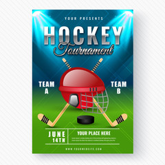 Creative abstract Hockey Tournament template or flyer design with hockey helmet and stick illustration on night view stadium background.