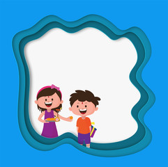 Happy brother and sister character celebrating Raksha bandhan festival on paper cut origami frame with space for your message.