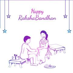 Happy Raksha Bandhan banner or poster design with hand drawn illustration of brother and sister celebrating Raksha Bandhan Festival.