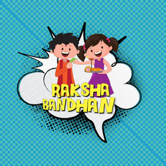 Pop art style Happy brother and sister character celebrating Raksha bandhan festival on png background.
