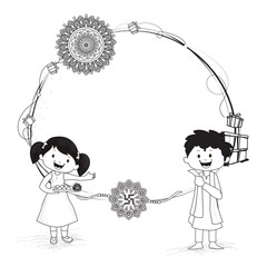 Doodle character of brother and sister celebrating Raksha bandhan festival illustration of rakhi, gift boxes decorated frame and space for your message.