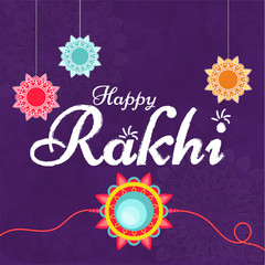 Creative text Happy Rakhi on purple ornamental background for celebration concept.