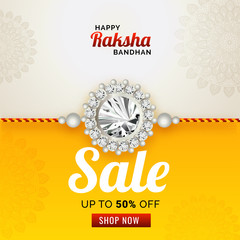 Discount 50% off sale banner with beautiful rakhi (wristband) on ornamental background for Happy Raksha bandhan.