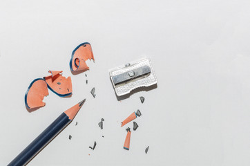 Wooden Pencil, Sharpener And Pencil Shavings