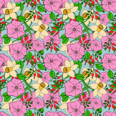 Raster seamless floral bright pattern with dogroses and daffodils. Summer tracery.
