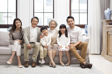 Portrait of happy Chinese family
