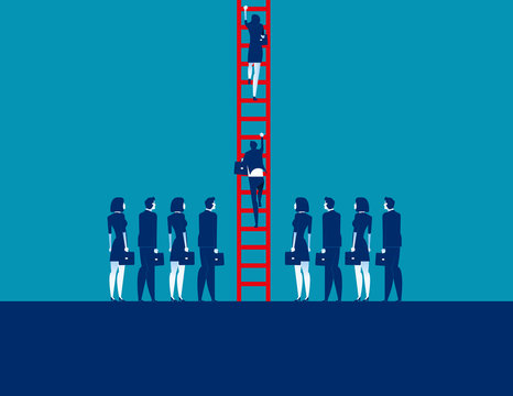 Business people crowd and moving up. Concept business vector illustration, Corporate business, Team.