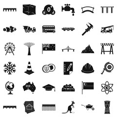 Small bridge icons set. Simple style of 36 small bridge vector icons for web isolated on white background