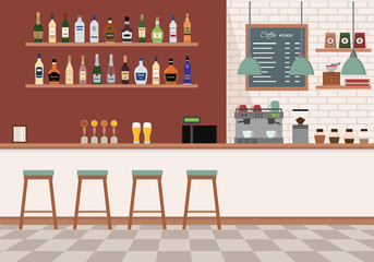 Empty bar interior. Pub with counter, chairs and equipment. Flat design vector illustration.