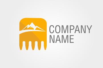 bucket excavator with mountains and road. logo.
