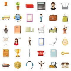 Business icons set. Cartoon style of 36 business vector icons for web isolated on white background