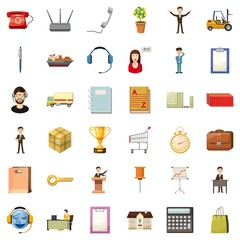 Businessman icons set. Cartoon style of 36 businessman vector icons for web isolated on white background