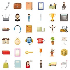 Hard business icons set. Cartoon style of 36 hard business vector icons for web isolated on white background