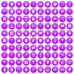100 paint school icons set in purple circle isolated vector illustration