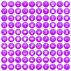 100 pensil icons set in purple circle isolated vector illustration