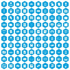 100 document icons set in blue hexagon isolated vector illustration