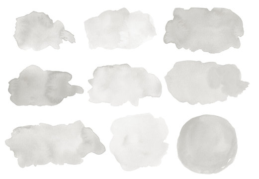 A set of abstract watercolor stains in shades of gray. Hand drawn, painted splashes, blobs, backgrounds, frames.