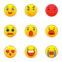 Emoticons or smileys icons set. Flat set of 9 emoticons or smileys vector icons for web isolated on white background