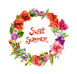 Floral wreath with meadow flowers, grass, bees, butterflies. Watercolor circle frame with text note Sweet summer