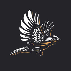 Fire Bird silhouette logo template on black background - Hand drawn outline flying phoenix or hawk with spread wings vector illustration. Gold and white vintage emblem design. Perfect for t-shirts