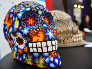 Colored skulls. Mexican crafts. Dia de los Muertos