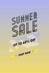 Sale poster with geometric shapes. Super Sale vector illustration. Vector background in retro 80s, 90s memphis style. Unique artistic summer card with bright gradient background.