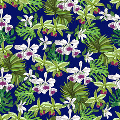 Floral seamless pattern, orchids, monstera leaves, fan palm leaves. Hand drawn illustration.