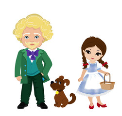 Illustration of Dorothy and the wizard of the Emerald City. Vector illustration isolated on white background.