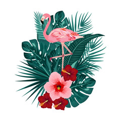 Tropical leaves of palm tree, flowers and flamingo, T-Shirt design