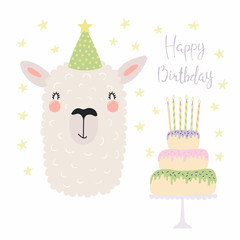 Hand drawn birthday card with cute funny llama in a party hat, cake with candles, quote Happy birthday. Isolated objects. Scandinavian style flat design. Vector illustration. Concept for kids print.