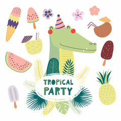 Hand drawn vector illustration of a cute funny crocodile in a party hat, with fruit, ice cream, cocktails, quote Tropical party. Isolated objects. Scandinavian style flat design. Concept invitation.
