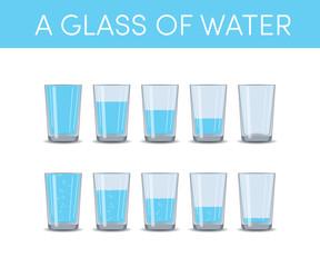 Glasses of water, vector set