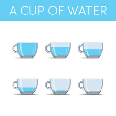 Cups of water, vector set