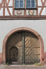 Wooden gate of the old house in Seligenstadt, Germany