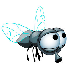 Cartoon fly with big eyes isolated on a white background. Vector cartoon close-up illustration.