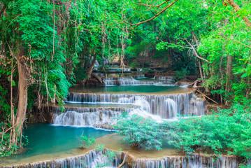 Wall Mural - Landscape Huai Mae Kamin waterfall Srinakarin Dam in Kanchanaburi, Thailand