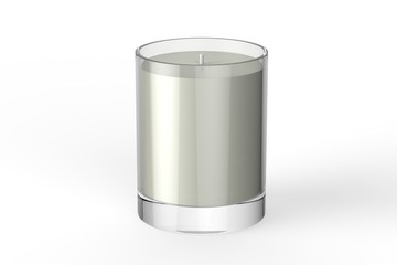 Votive candle with box, mock up template on isolated white background, 3d illustration