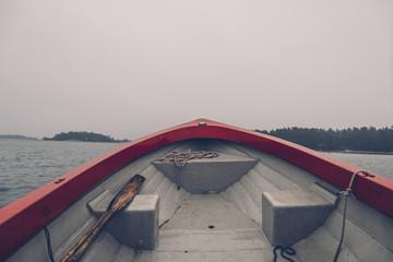 Sweden, Sodermanland, boat on the sea in archipelago landscape