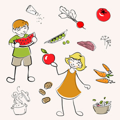 Children and healthy food / healthy diet - vector Illustration
