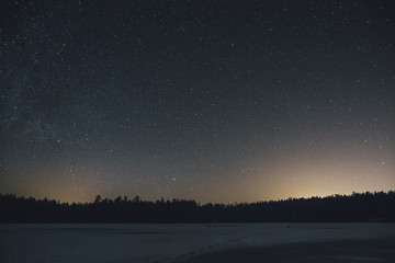 Sweden, Sodermanland, frozen lake Navsjon in winter under starry sky at night