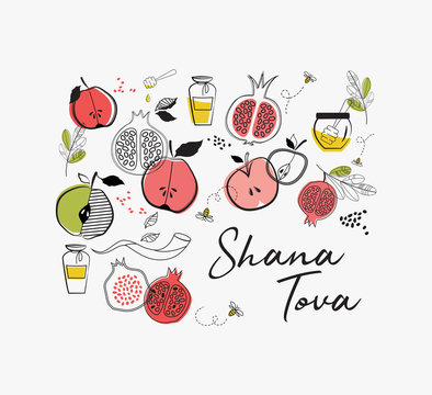 greeting card with symbols of Jewish holiday Rosh Hashana , New Year. blessing of Happy new year, shana tova. vector illustration template