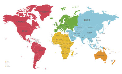 Foto auf AluDibond Weltkarte Political World Map vector illustration with different colors for each continent and isolated on white background with country names in spanish. Editable and clearly labeled layers.